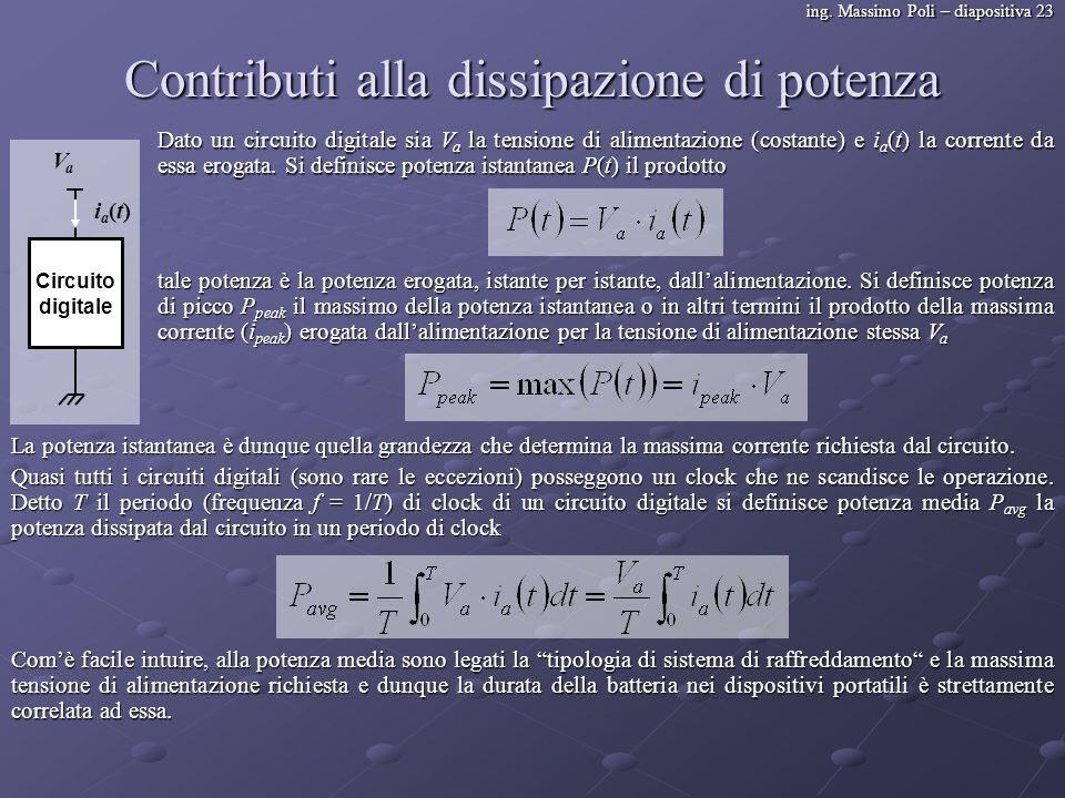 ing. Massimo Poli – diapositiva 23 Contributi alla dissipazione di potenza Dato un circuito digitale sia V a la tensione di alimentazione (costante) e