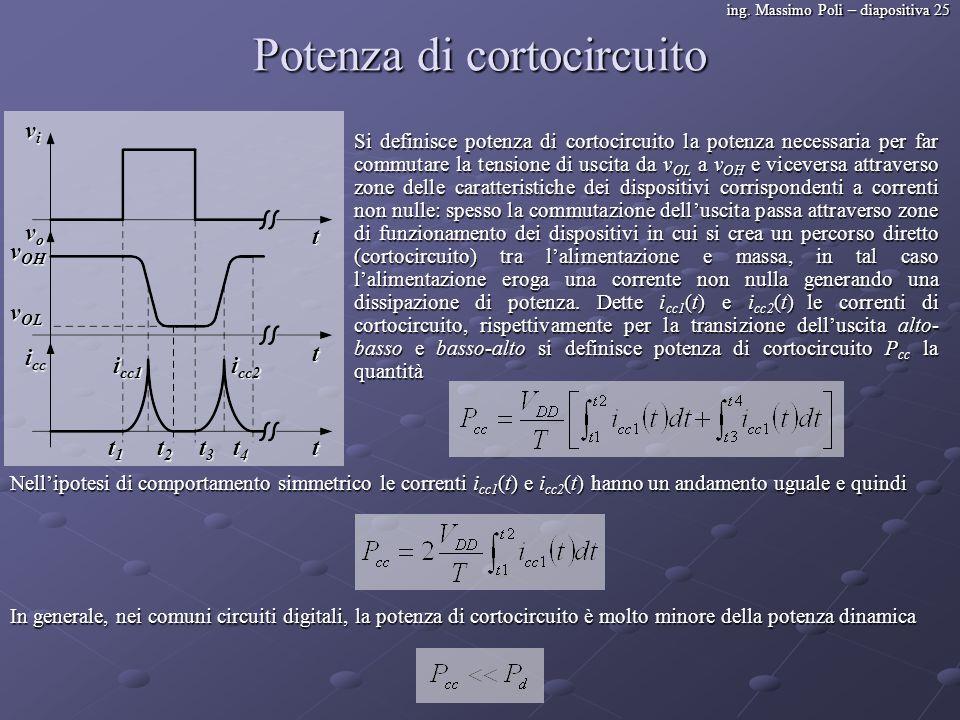 ing. Massimo Poli – diapositiva 25 Potenza di cortocircuito Si definisce potenza di cortocircuito la potenza necessaria per far commutare la tensione