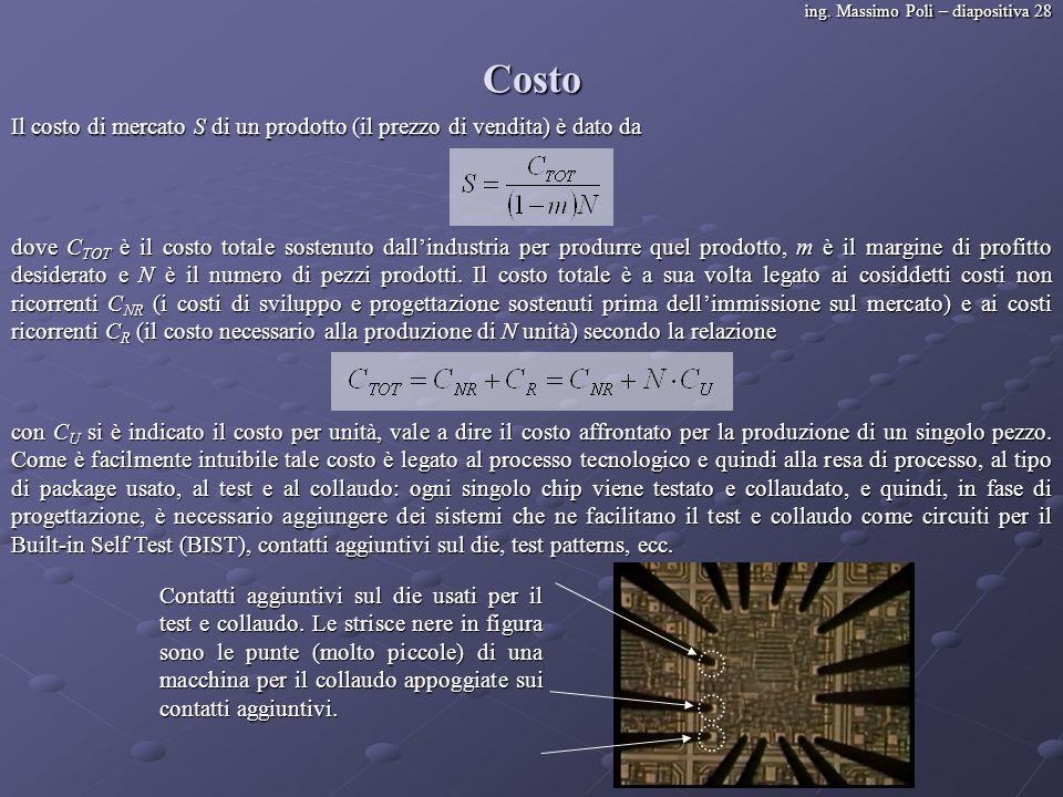 ing. Massimo Poli – diapositiva 28 Costo Il costo di mercato S di un prodotto (il prezzo di vendita) è dato da dove C TOT è il costo totale sostenuto