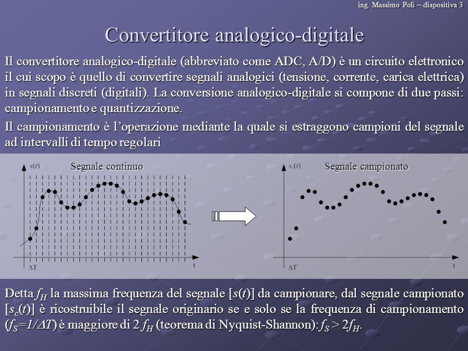 ing. Massimo Poli – diapositiva 3 Convertitore analogico-digitale Il convertitore analogico-digitale (abbreviato come ADC, A/D) è un circuito elettron