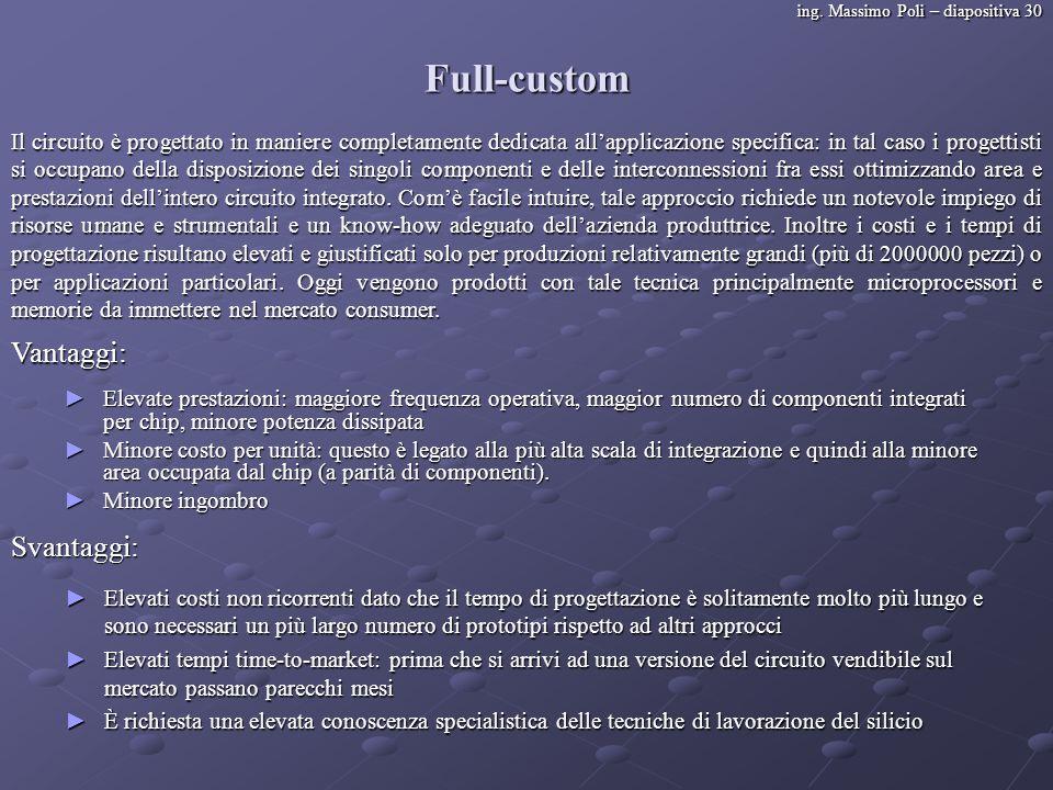 ing. Massimo Poli – diapositiva 30 Full-custom Il circuito è progettato in maniere completamente dedicata allapplicazione specifica: in tal caso i pro