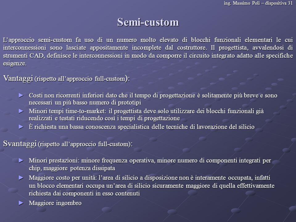 ing. Massimo Poli – diapositiva 31 Semi-custom Lapproccio semi-custom fa uso di un numero molto elevato di blocchi funzionali elementari le cui interc