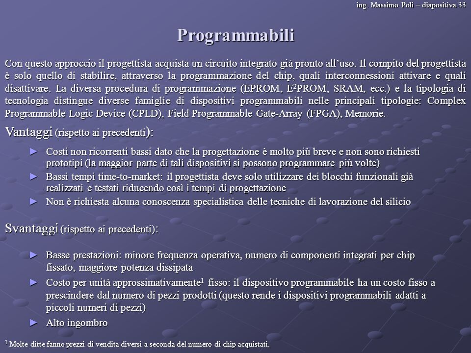 ing. Massimo Poli – diapositiva 33 Programmabili Con questo approccio il progettista acquista un circuito integrato già pronto alluso. Il compito del