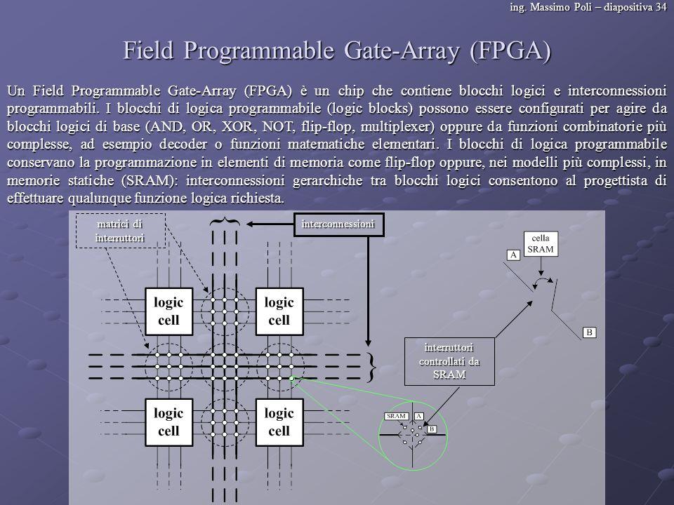 ing. Massimo Poli – diapositiva 34 Field Programmable Gate-Array (FPGA) Un Field Programmable Gate-Array (FPGA) è un chip che contiene blocchi logici