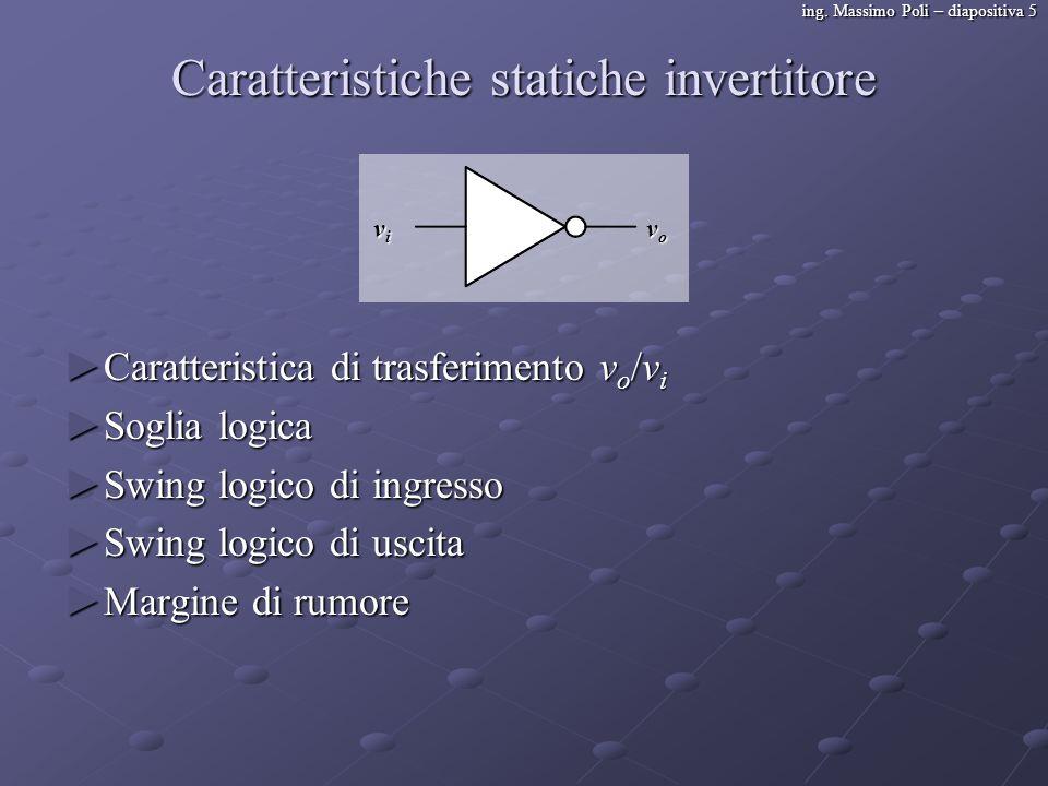 ing. Massimo Poli – diapositiva 5 Caratteristiche statiche invertitore Caratteristica di trasferimento v o /v i Caratteristica di trasferimento v o /v