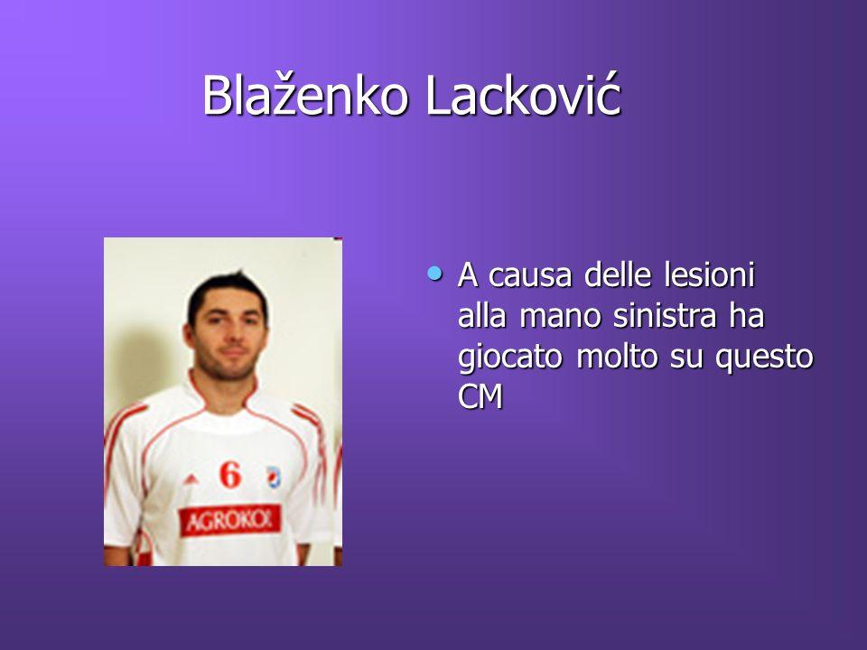 Blaženko Lacković Blaženko Lacković A causa delle lesioni alla mano sinistra ha giocato molto su questo CM A causa delle lesioni alla mano sinistra ha giocato molto su questo CM