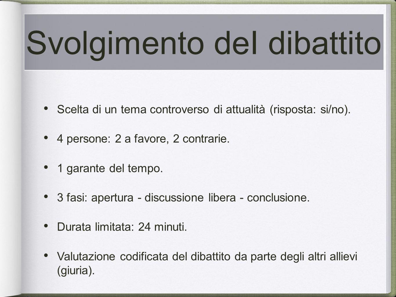 Svolgimento deI dibattito Scelta di un tema controverso di attualità (risposta: si/no).