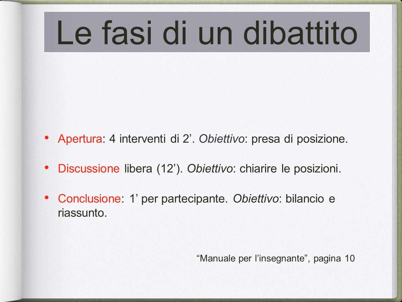 Le fasi di un dibattito Apertura: 4 interventi di 2.
