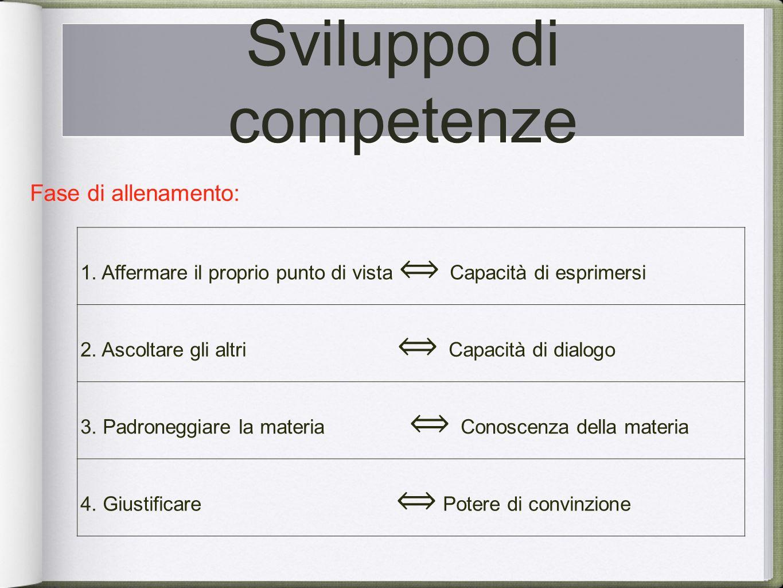 Sviluppo di competenze Il corso è previsto in 3 fasi: Fase di allenamento: 1.