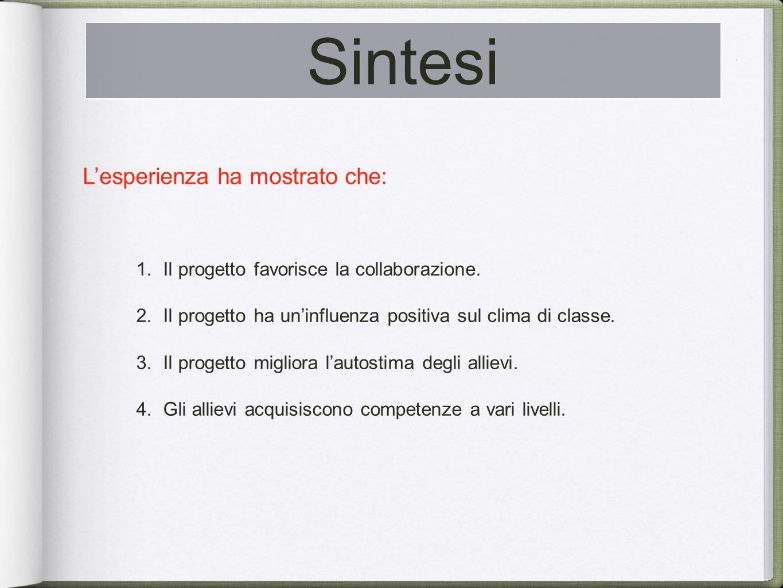 Sintesi Il corso è previsto in 3 fasi: Lesperienza ha mostrato che: 1.Il progetto favorisce la collaborazione.