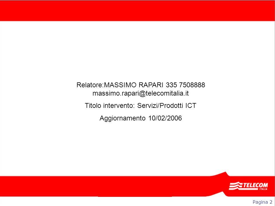 Relatore: Titolo intervento: Data e luogo: Relatore:MASSIMO RAPARI 335 7508888 massimo.rapari@telecomitalia.it Titolo intervento: Servizi/Prodotti ICT