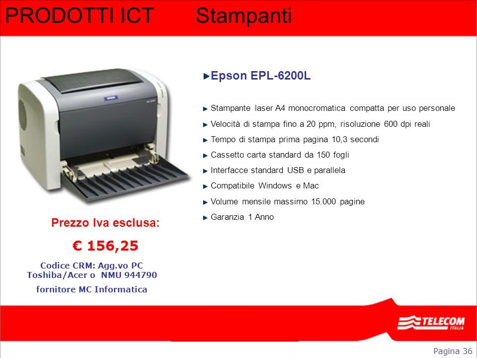 PRODOTTI ICTStampanti Epson EPL-6200L Stampante laser A4 monocromatica compatta per uso personale Velocità di stampa fino a 20 ppm, risoluzione 600 dp