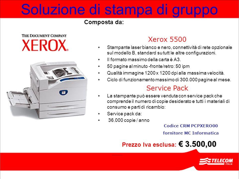 Soluzione di stampa di gruppo Xerox 5500 Stampante laser bianco e nero, connettività di rete opzionale sul modello B, standard su tutt le altre config