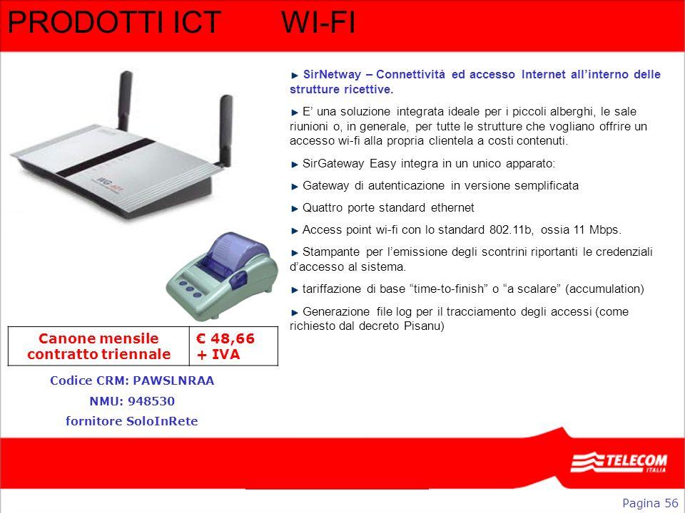 Direzione Commerciale Business PRODOTTI ICTWI-FI Pagina 56 Codice CRM: PAWSLNRAA NMU: 948530 fornitore SoloInRete SirNetway – Connettività ed accesso