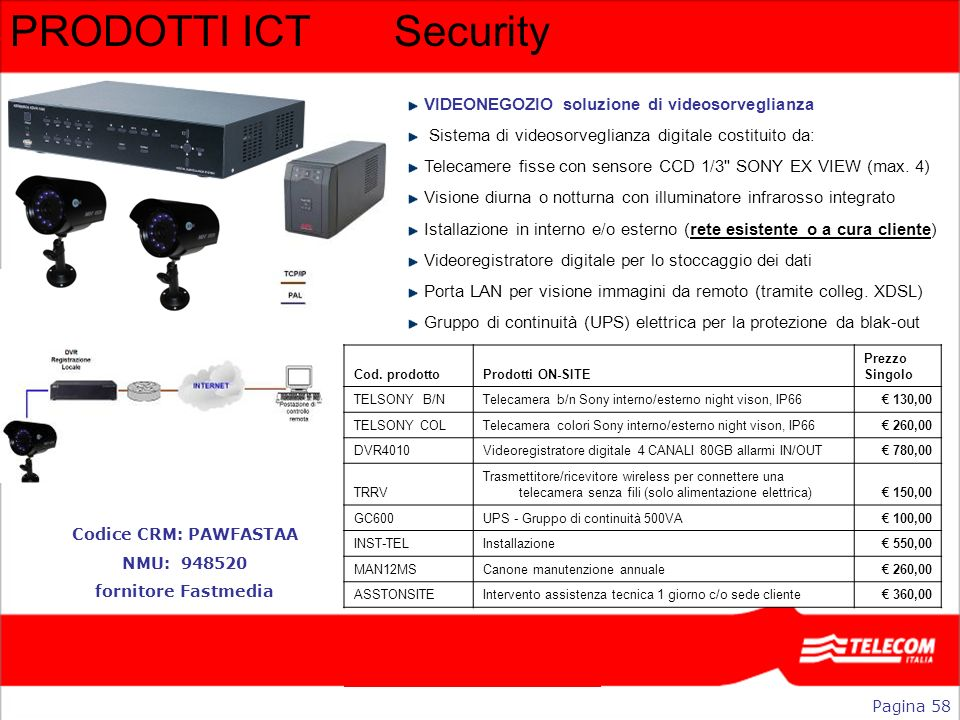 PRODOTTI ICTSecurity Pagina 58 Codice CRM: PAWFASTAA NMU: 948520 fornitore Fastmedia VIDEONEGOZIO soluzione di videosorveglianza Sistema di videosorve