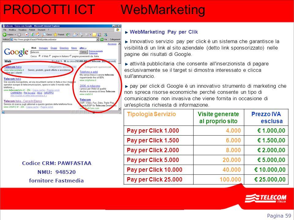 PRODOTTI ICTWebMarketing WebMarketing Pay per Clik Innovativo servizio pay per click è un sistema che garantisce la visibilità di un link al sito azie