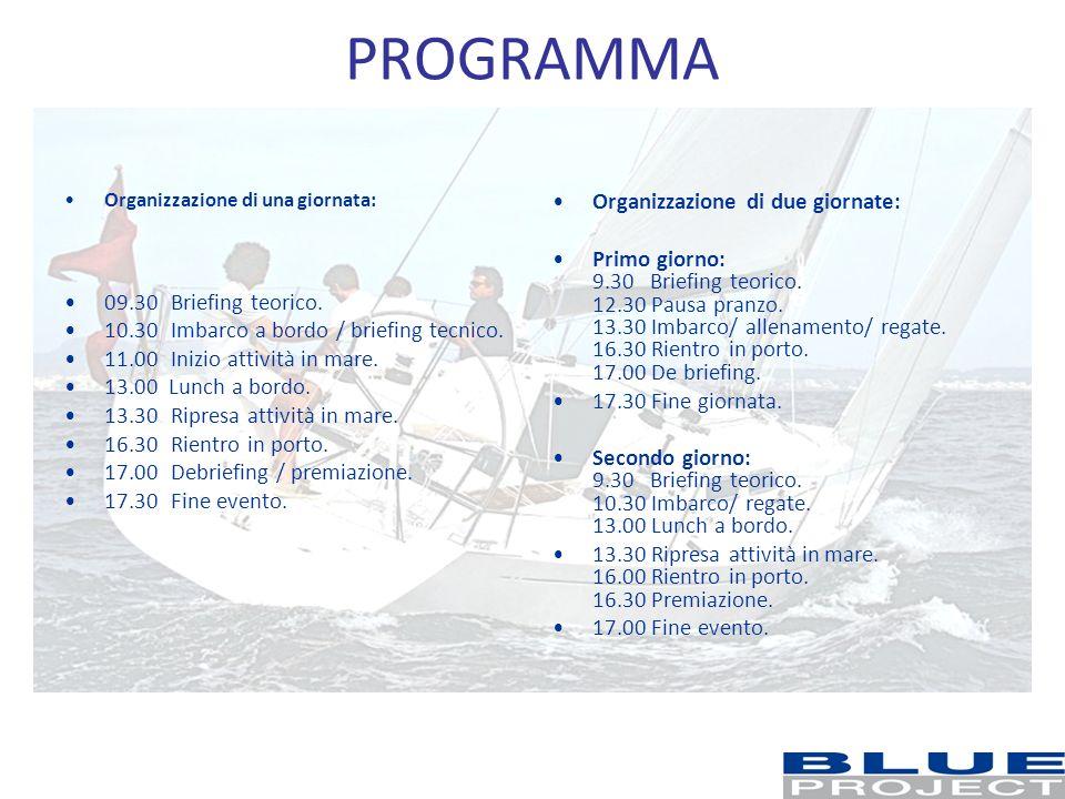 PROGRAMMA Organizzazione di una giornata: 09.30Briefing teorico. 10.30 Imbarco a bordo / briefing tecnico. 11.00 Inizio attività in mare. 13.00 Lunch