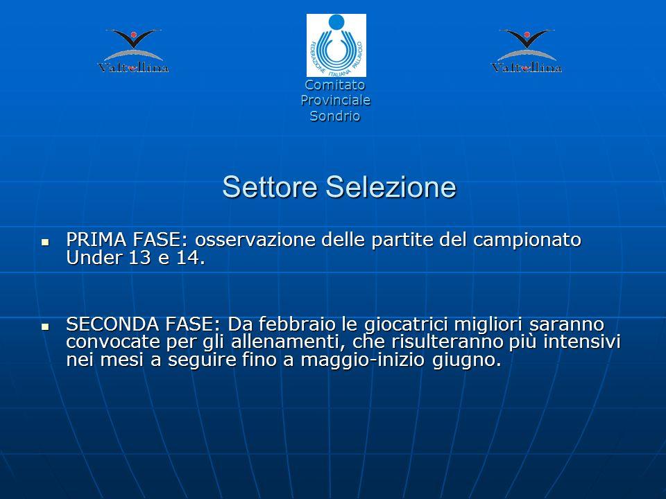 Settore Selezione PRIMA FASE: osservazione delle partite del campionato Under 13 e 14.