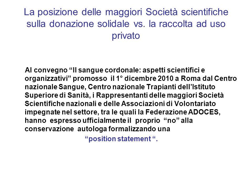 La posizione delle maggiori Società scientifiche sulla donazione solidale vs.