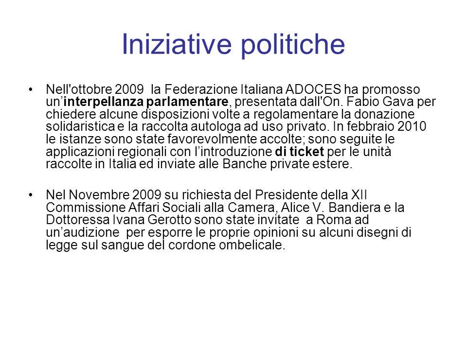 Iniziative politiche Nell ottobre 2009 la Federazione Italiana ADOCES ha promosso uninterpellanza parlamentare, presentata dall On.