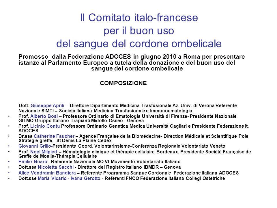 Il Comitato italo-francese per il buon uso del sangue del cordone ombelicale Promosso dalla Federazione ADOCES in giugno 2010 a Roma per presentare istanze al Parlamento Europeo a tutela della donazione e del buon uso del sangue del cordone ombelicale COMPOSIZIONE Dott.