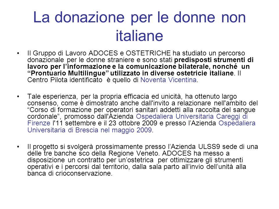 La donazione per le donne non italiane Il Gruppo di Lavoro ADOCES e OSTETRICHE ha studiato un percorso donazionale per le donne straniere e sono stati predisposti strumenti di lavoro per linformazione e la comunicazione bilaterale, nonché un Prontuario Multilingue utilizzato in diverse ostetricie italiane.