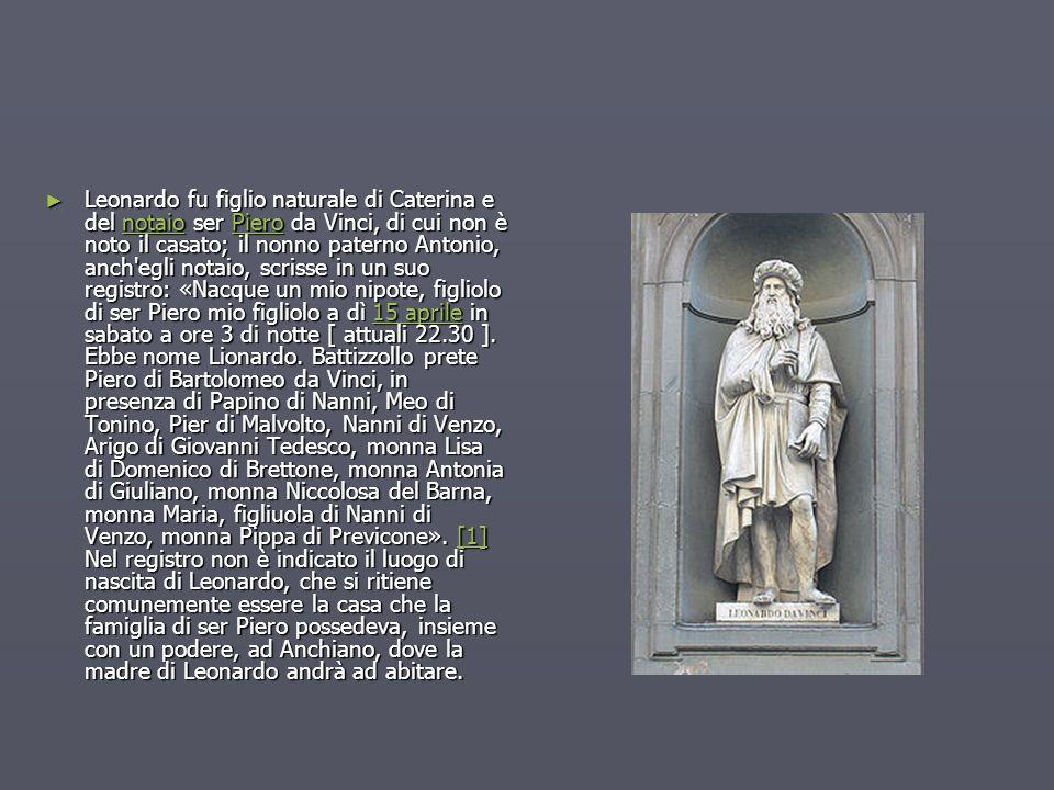 Leonardo fu figlio naturale di Caterina e del notaio ser Piero da Vinci, di cui non è noto il casato; il nonno paterno Antonio, anch egli notaio, scrisse in un suo registro: «Nacque un mio nipote, figliolo di ser Piero mio figliolo a dì 15 aprile in sabato a ore 3 di notte [ attuali 22.30 ].