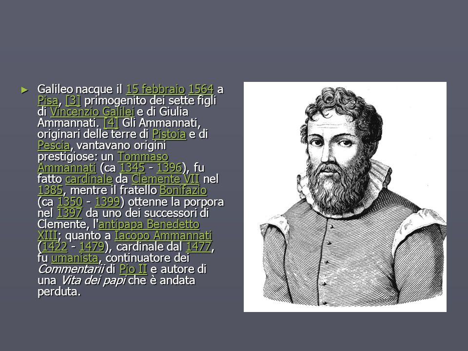 Galileo nacque il 15 febbraio 1564 a Pisa, [3] primogenito dei sette figli di Vincenzio Galilei e di Giulia Ammannati. [4] Gli Ammannati, originari de