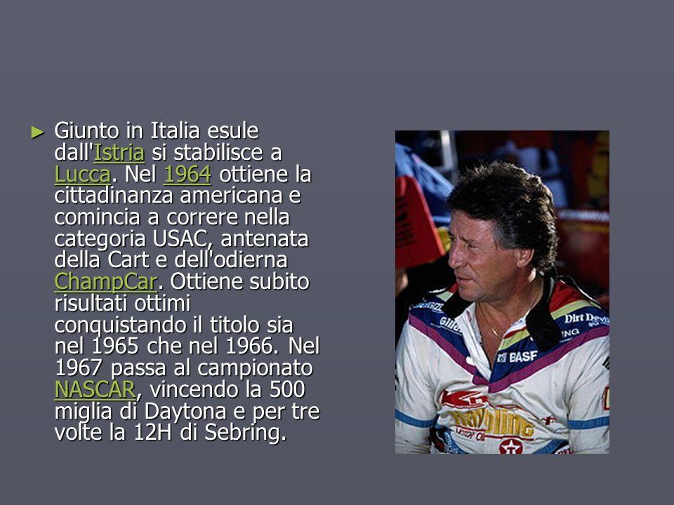 Giunto in Italia esule dall'Istria si stabilisce a Lucca. Nel 1964 ottiene la cittadinanza americana e comincia a correre nella categoria USAC, antena