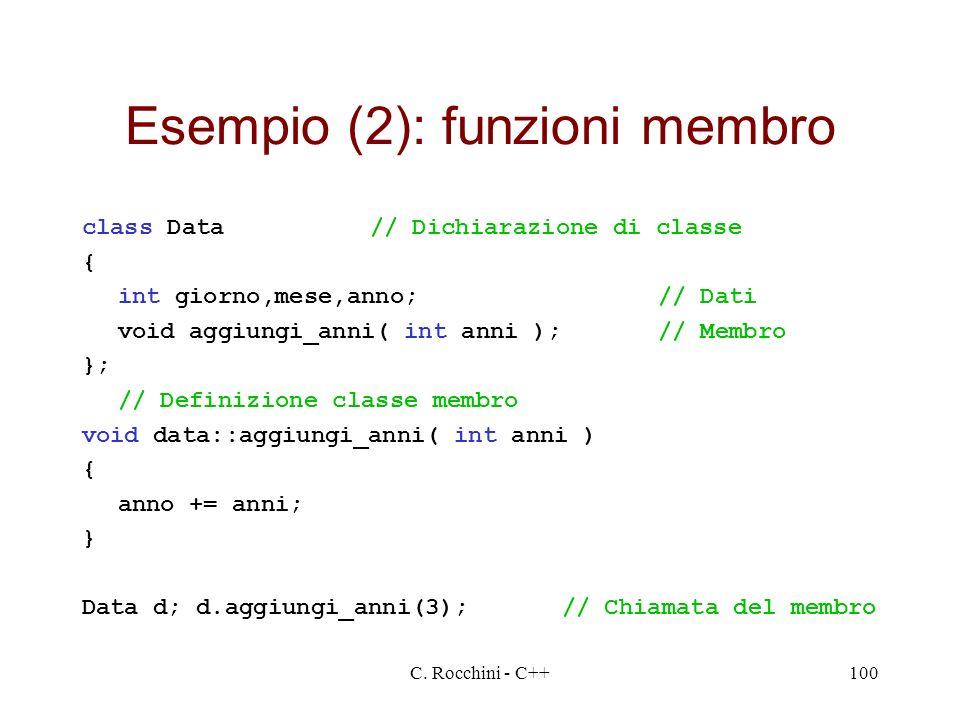 C. Rocchini - C++100 Esempio (2): funzioni membro class Data// Dichiarazione di classe { int giorno,mese,anno;// Dati void aggiungi_anni( int anni );/