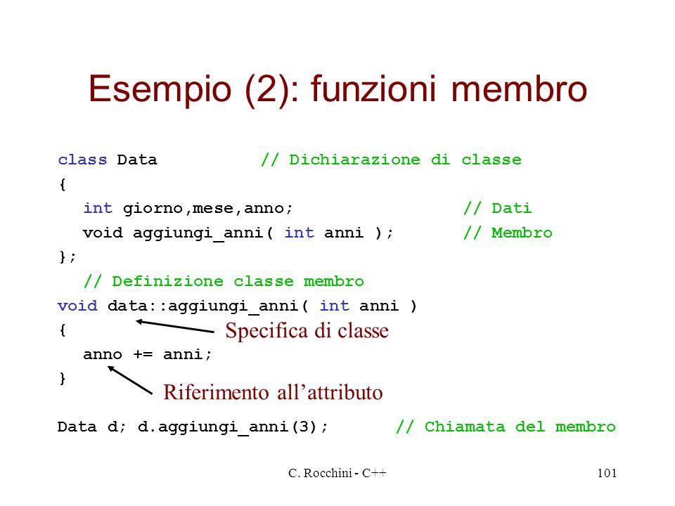 C. Rocchini - C++101 Esempio (2): funzioni membro class Data// Dichiarazione di classe { int giorno,mese,anno;// Dati void aggiungi_anni( int anni );/