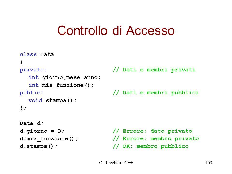 C. Rocchini - C++103 Controllo di Accesso class Data { private:// Dati e membri privati int giorno,mese anno; int mia_funzione(); public:// Dati e mem