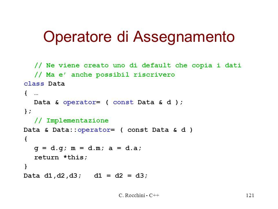 C. Rocchini - C++121 Operatore di Assegnamento // Ne viene creato uno di default che copia i dati // Ma e anche possibil riscrivero class Data {… Data