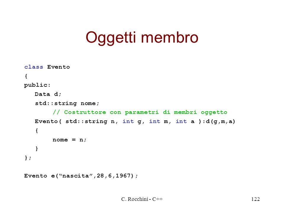 C. Rocchini - C++122 Oggetti membro class Evento { public: Data d; std::string nome; // Costruttore con parametri di membri oggetto Evento( std::strin