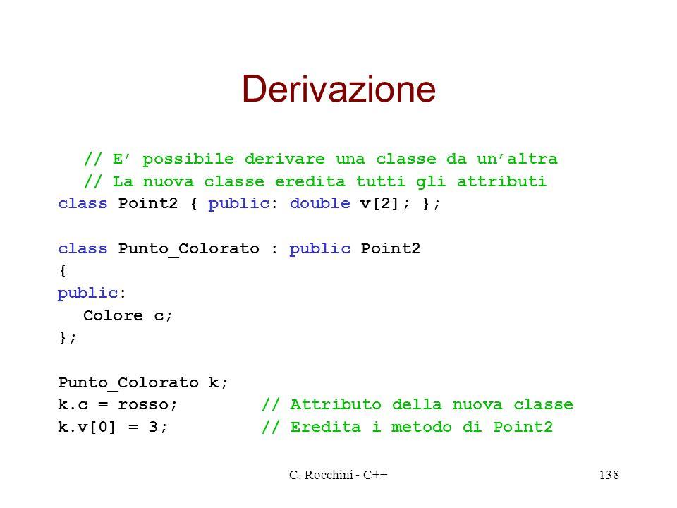 C. Rocchini - C++138 Derivazione // E possibile derivare una classe da unaltra // La nuova classe eredita tutti gli attributi class Point2 { public: d