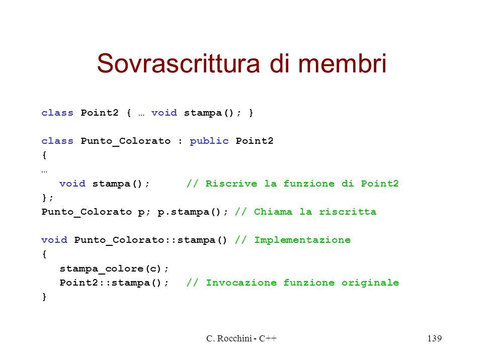 C. Rocchini - C++139 Sovrascrittura di membri class Point2 { … void stampa(); } class Punto_Colorato : public Point2 { … void stampa();// Riscrive la