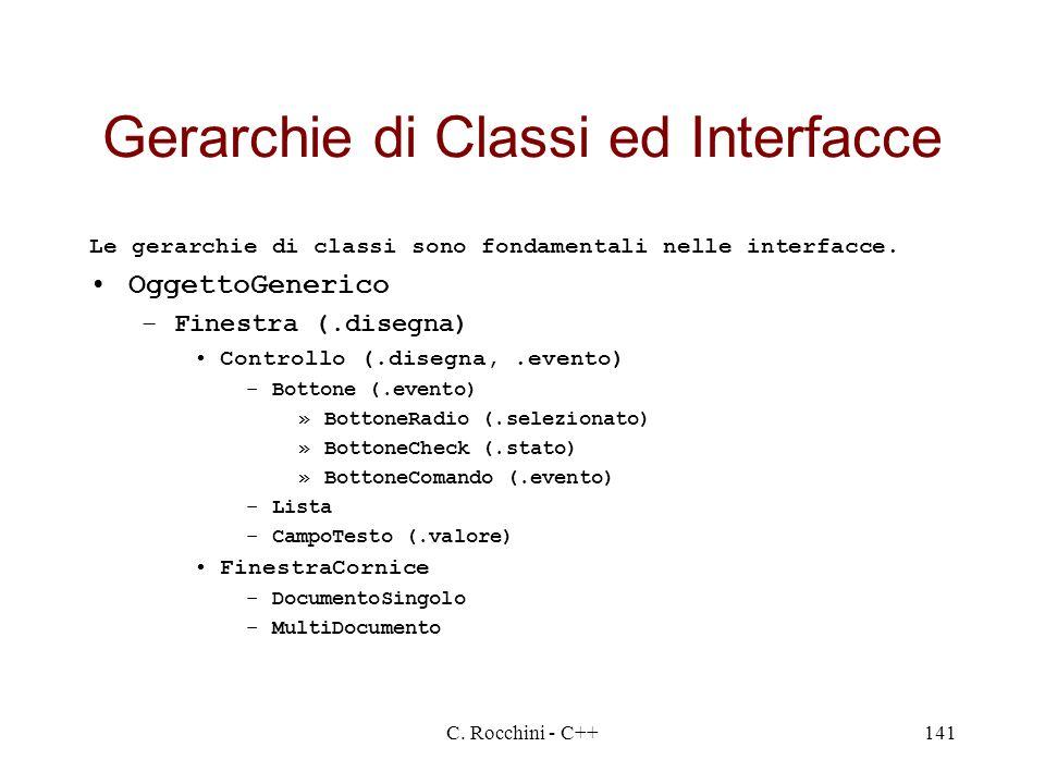 C. Rocchini - C++141 Gerarchie di Classi ed Interfacce Le gerarchie di classi sono fondamentali nelle interfacce. OggettoGenerico –Finestra (.disegna)