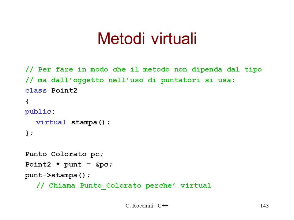 C. Rocchini - C++143 Metodi virtuali // Per fare in modo che il metodo non dipenda dal tipo // ma dalloggetto nelluso di puntatori si usa: class Point