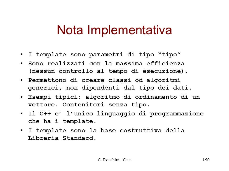 C. Rocchini - C++150 Nota Implementativa I template sono parametri di tipo tipo Sono realizzati con la massima efficienza (nessun controllo al tempo d