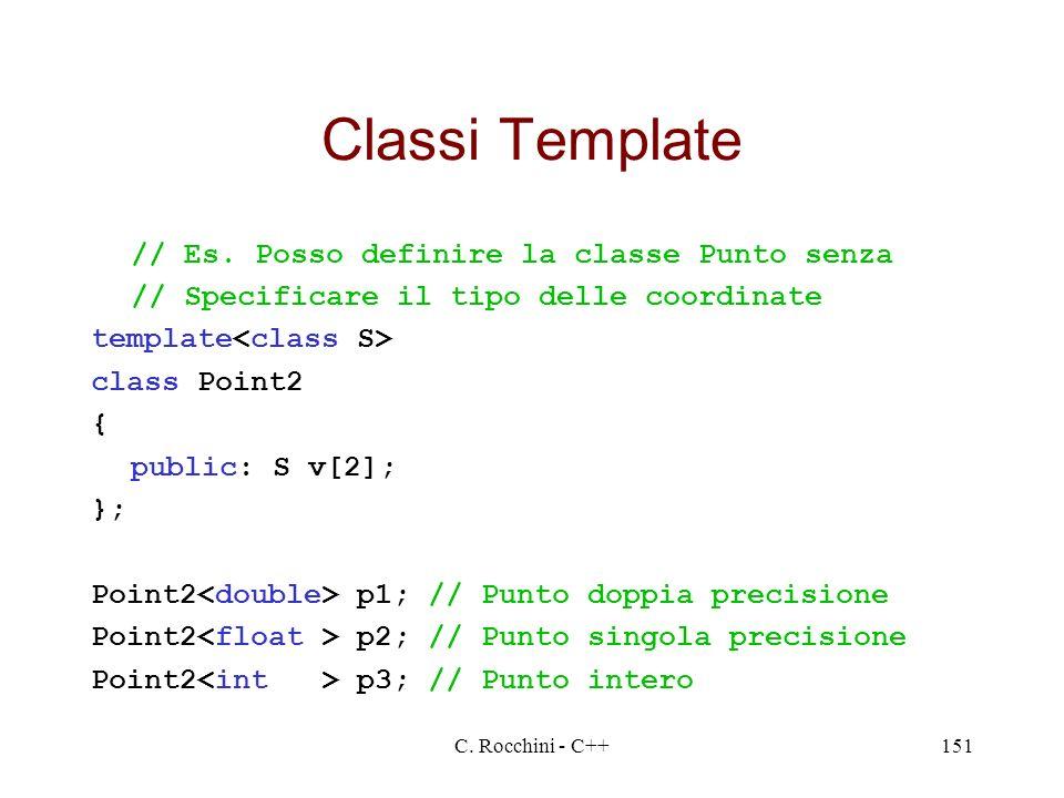 C. Rocchini - C++151 Classi Template // Es. Posso definire la classe Punto senza // Specificare il tipo delle coordinate template class Point2 { publi