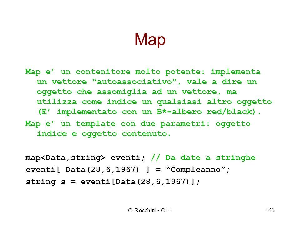 C. Rocchini - C++160 Map Map e un contenitore molto potente: implementa un vettore autoassociativo, vale a dire un oggetto che assomiglia ad un vettor