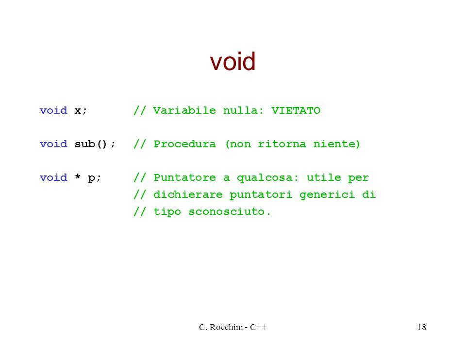 C. Rocchini - C++18 void void x;// Variabile nulla: VIETATO void sub();// Procedura (non ritorna niente) void * p;// Puntatore a qualcosa: utile per /
