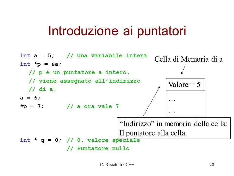 C. Rocchini - C++20 Introduzione ai puntatori int a = 5;// Una variabile intera int *p = &a; // p è un puntatore a intero, // viene assegnato allindir