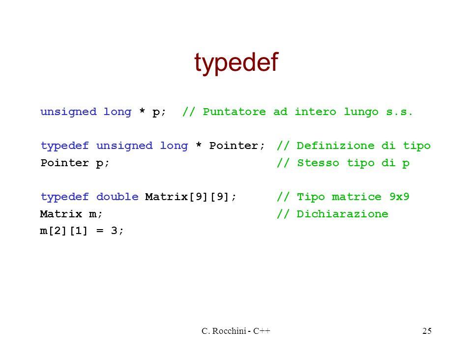 C. Rocchini - C++25 typedef unsigned long * p;// Puntatore ad intero lungo s.s. typedef unsigned long * Pointer;// Definizione di tipo Pointer p;// St