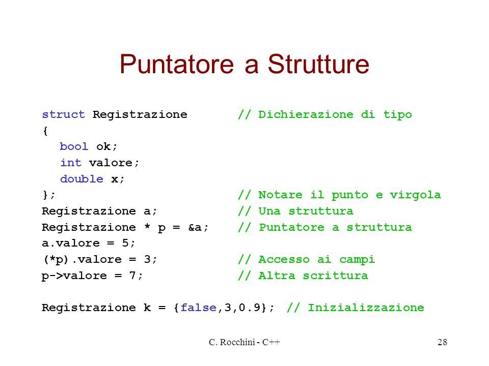 C. Rocchini - C++28 Puntatore a Strutture struct Registrazione// Dichierazione di tipo { bool ok; int valore; double x; };// Notare il punto e virgola