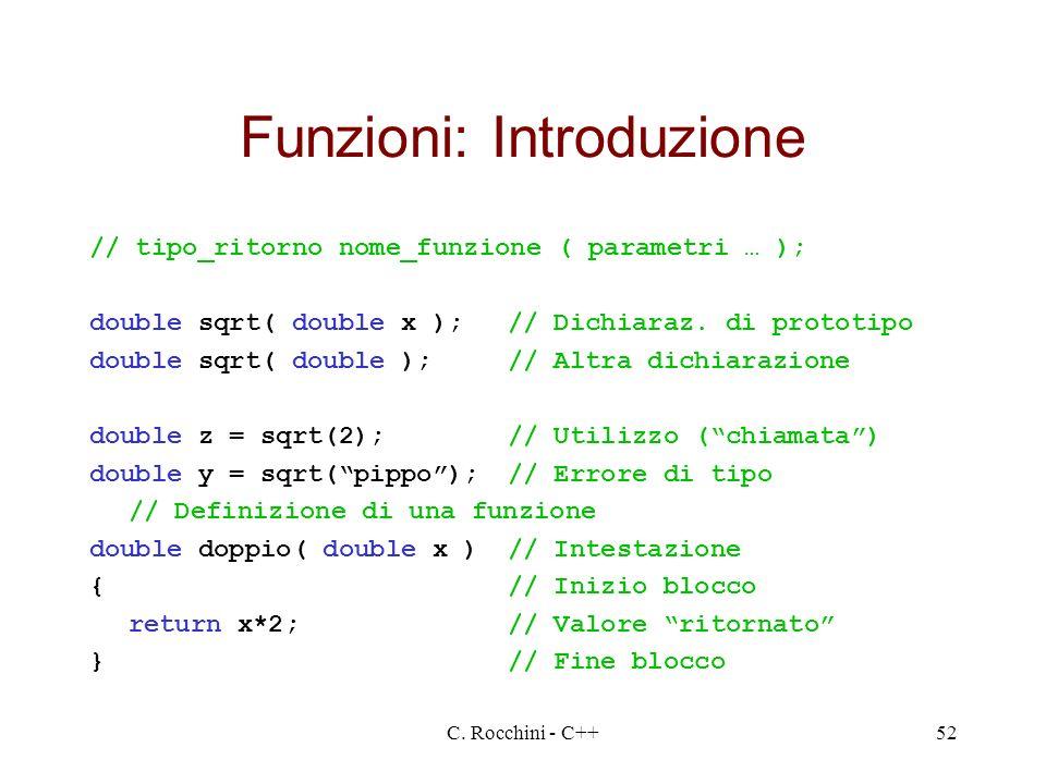 C. Rocchini - C++52 Funzioni: Introduzione // tipo_ritorno nome_funzione ( parametri … ); double sqrt( double x );// Dichiaraz. di prototipo double sq