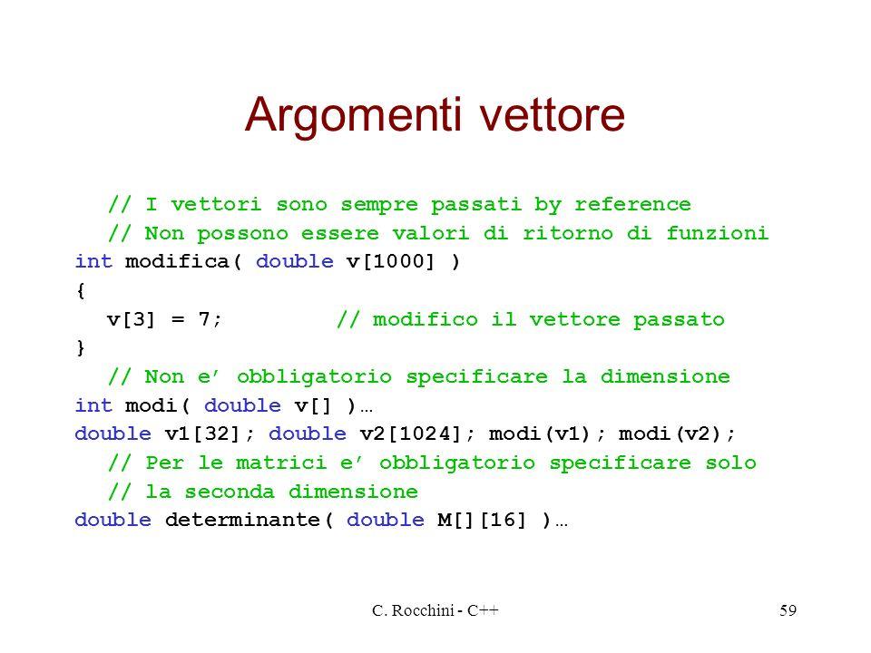 C. Rocchini - C++59 Argomenti vettore // I vettori sono sempre passati by reference // Non possono essere valori di ritorno di funzioni int modifica(