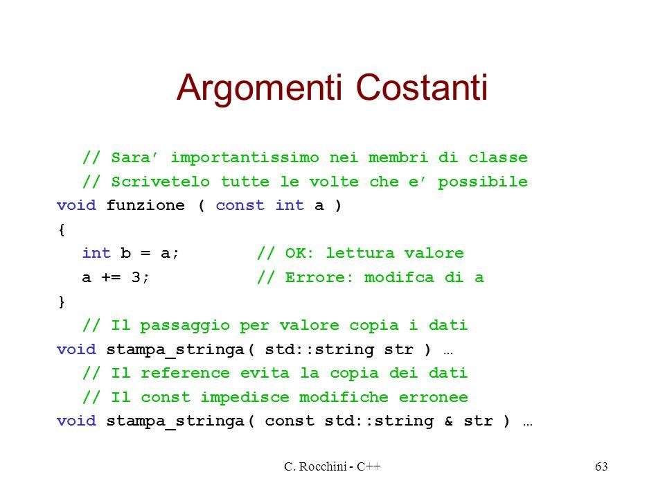 C. Rocchini - C++63 Argomenti Costanti // Sara importantissimo nei membri di classe // Scrivetelo tutte le volte che e possibile void funzione ( const