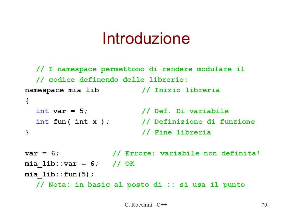 C. Rocchini - C++70 Introduzione // I namespace permettono di rendere modulare il // codice definendo delle librerie: namespace mia_lib// Inizio libre