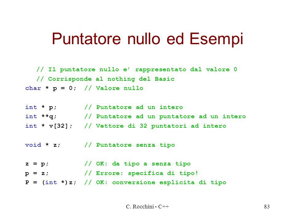 C. Rocchini - C++83 Puntatore nullo ed Esempi // Il puntatore nullo e rappresentato dal valore 0 // Corrisponde al nothing del Basic char * p = 0;// V